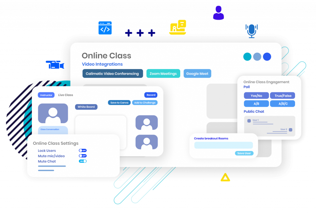 Online Video Conferencing solution to conduct Online Classes - EdTech Features. Virtual Classroom Software