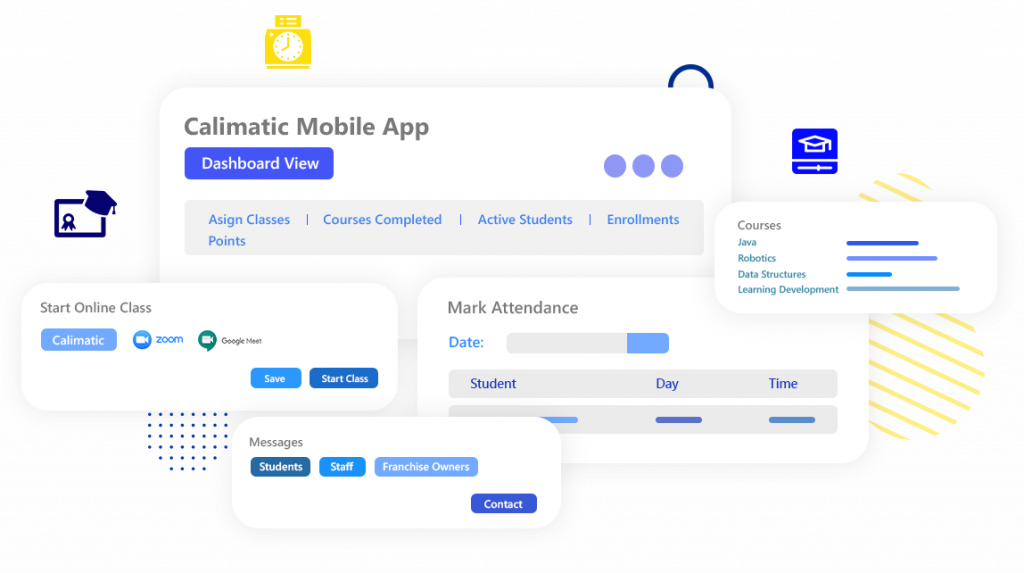 Calimatic LMS Mobile App with Online Classes, Blended Learning, Self Learning, Messages, Attendance and more