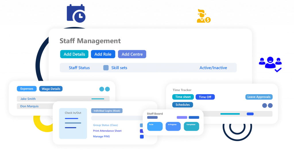 Calimatic LMS Staff Management Dashboard - Expenses, Wage Details, Leave Approvals, Check In/Out