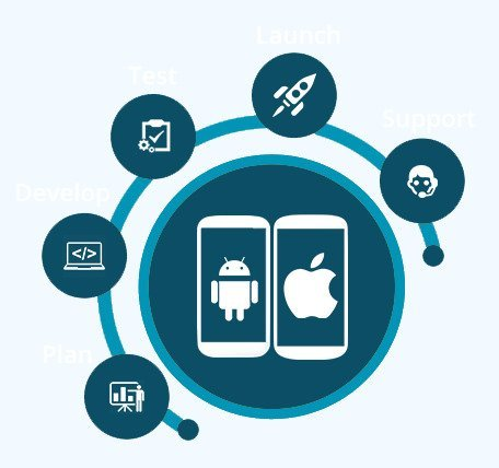 Calimatic's branded LMS Mobile app Development Lifecycle - Plan, Develop, Test, launch, Support